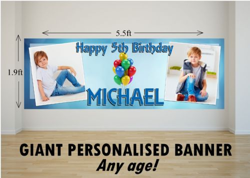 Personalised GIANT Large Blue Sparkle & Balloons Happy Birthday PHOTO Poster Banner N57 ANY AGE